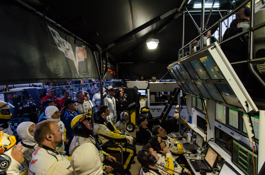 Corvette Racing's Mission Control in the pits during the 2012 Petit Le Mans.
