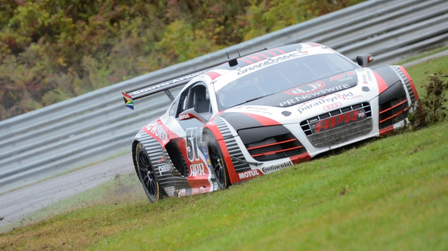 Rolex GT APR Motorsport's Audi R8 takes an off-course excursion during warm-ups prior to the Lime Rock race.  The crew repaired the damage and the team finished second in class. September 29, 2012. Stephen Minnig © 2012